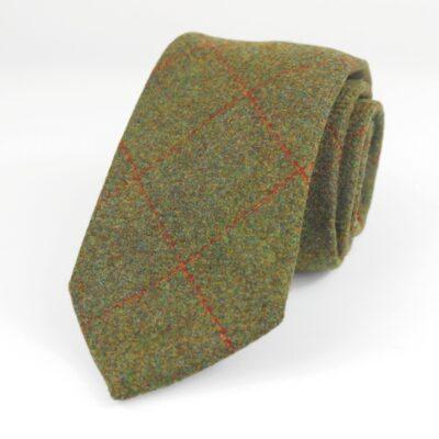 Corbata de lana verde con cuadro