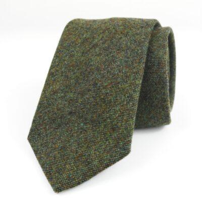 Corbata de lana verde minipunto