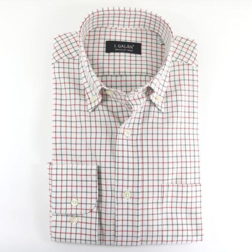 Camisa cuadros algodón grana y verde