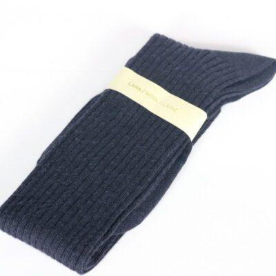 Calcetín alto de lana azul marino